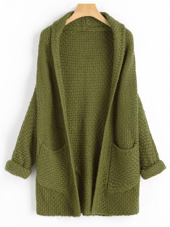 outfit Curled Sleeve Batwing Open Front Cardigan - ARMY GREEN ONE SIZE