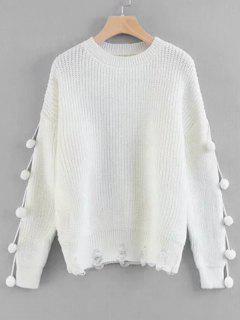 Pullover Pompoms Ripped Sweater - White