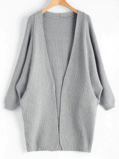 Dolman Sleeve Longline Open Cardigan - Gray