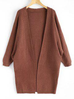 Dolman Sleeve Longline Open Cardigan - Brown