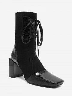 Square Toe Block Heel Mid Calf Boots - Black 40
