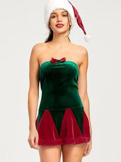 Christmas Lace Up Tube Dress With Hat - Red 2xl
