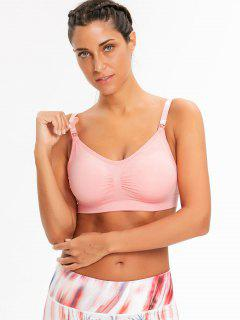 Front Ruched Padded Sporty Bra - Pinkbeige M