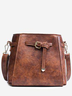 Belt PU Leather Crossbody Bag - Brown
