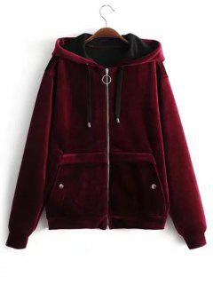 Drawstring Zip Up Velvet Hoodie - Wine Red L