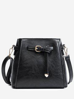 Belt PU Leather Crossbody Bag - Black