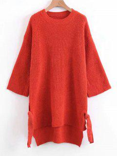 Slit Bow Tied High Low Sweater - Jacinth