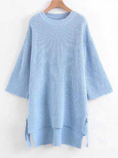 Slit Bow Tied High Low Sweater - Light Blue