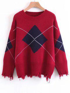 Frayed Hem Geometric Pullover Sweater - Red