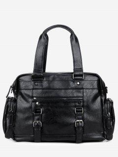 Multi Function Double Buckle Strap Handbag - Black