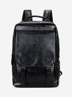 Buckle Straps Faux Leather Backpack - Black
