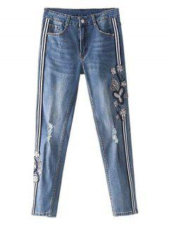 Striped Trim Floral Embroidered Ripped Jeans - Denim Blue L