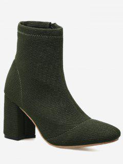 Block Heel Square Toe Boots - Green 36