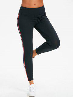 Side Striped High Waisted Sporty Pants - Black M