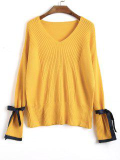 Ribbed Ribbon Tied Sleeve Sweater - Yellow