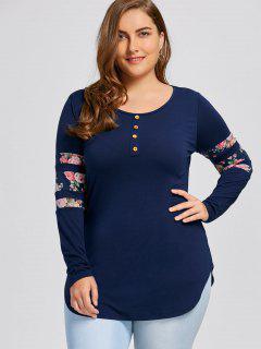 Plus Size Floral Dolphin T-shirt - Blue 3xl