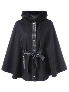 Plus Size Faux Fur Hooded Swing Coat - Black 2xl