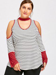 Plus Size Cold Shoulder Striped Choker T-shirt - Black Stripe Xl