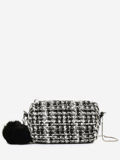 Pompoms Color Block Crossbody Bag - White
