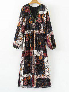 Floral Empire Waist Long Sleeve Dress - Floral L