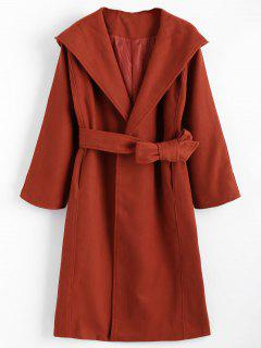 Belted Hooded Coat With Pockets - Brick-red S