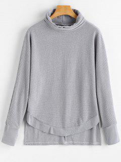 Batwing Ribbed Turtleneck Sweater - Gray S