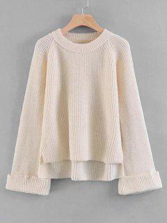 Raglan Sleeve High Low Pullover Sweater - Off-white