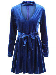 Long Sleeve Choker Velvet A Line Dress - Purplish Blue M