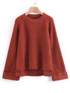 Raglan Sleeve High Low Pullover Sweater - Red