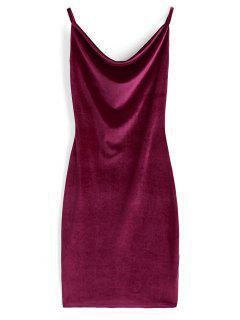 Vestido De Terciopelo Con Cuello Vuelto - Vino Rojo L