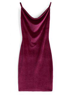 Cowl Neck Velvet Dress - Wine Red M