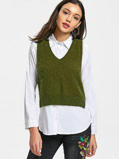 High Low Lace Up Vest Sweater - Army Green
