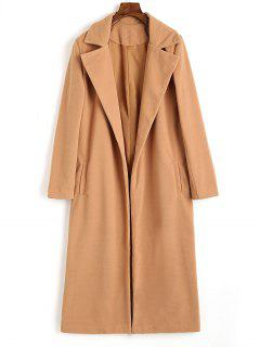 Lapel Wool Blend Coat With Piped Pockets - Camel S