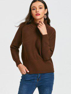 Turtleneck High Low Pullover Sweater - Brown