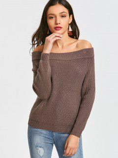 Pullover Off Shoulder Sweater - Greyish Brown