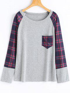Kariertes Langes Hülsen-T-Shirt - Grau M