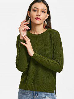 Suéter Con Textura De Panel De Punto De Cable - Ejercito Verde
