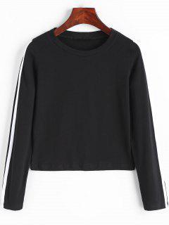 Long Sleeve Side Stripe Crop Top - Black L
