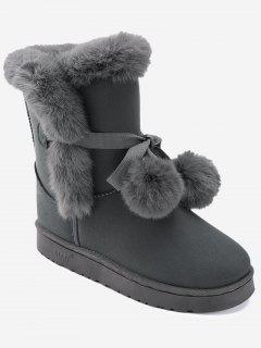 Bowknot Pompom Snow Boots - Gray 36