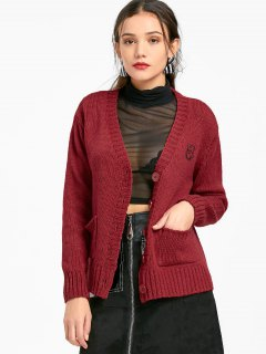 Button Up Patched Cardigan Mit Taschen - Dunkelrot