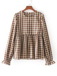 Elastic Cuffs Checked Ruffles Blouse - Checked S