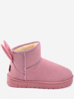 Badge Rabbit Ear Embellished Snow Boots - Pink 36