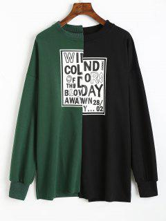 Letter Two Tone Asymmetrical Sweatshirt - Black And Green