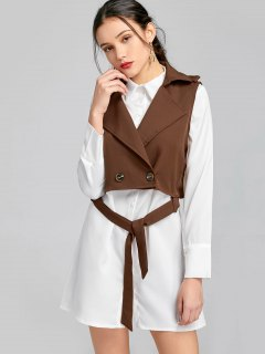Belted Button Up Shirt Dress With Waistcoat - Brown S