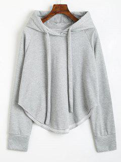 Drawstring Uneven Hem Hoodie - Light Gray M