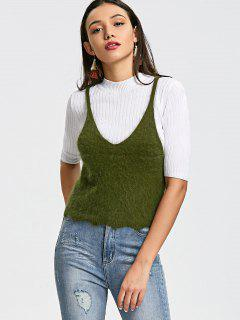 Scalloped Fuzzy Knitted Tank Top - Army Green