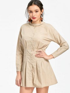 Button Up Long Sleeve Pleated Mini Dress - Apricot S