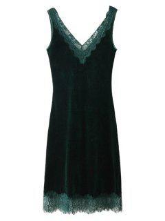 Sleeveless Lace Panel Velvet Midi Dress - Blackish Green L