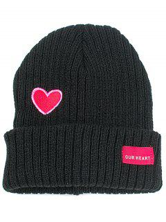 Letter Label Embroidery Flanging Knitted Beanie - Black