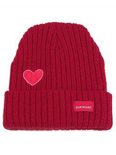 Letter Label Embroidery Flanging Knitted Beanie - Red